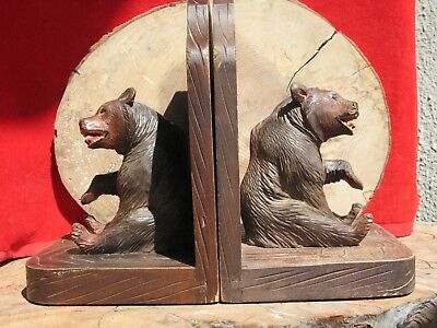 A2248 Pair of Antique German Black Forest Carved Wood Bear Bookends