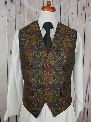 Vintage Mens Single Fancy Brocade Look Pattern Waistcoat Sz 38/40 GZ60