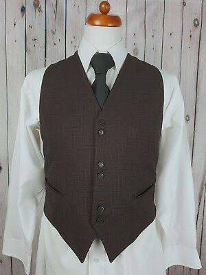 "Vintage Mens 50s/60s Single Breast Black/Brown Check Wool Waistcoat Sz 38"" GZ62"