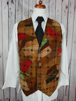 Vintage Mens Single Breast Patchwork Nappa Leather Waistcoat Sz Large GZ63