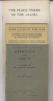 3 1917-18 Wwi Booklets - Peace Terms - War Gains - Shirking The Issue