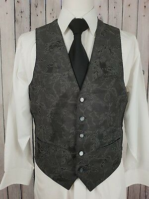 "Vintage Mens Single Breast Tapestry Look Bird Pattern Waistcoat Sz 36"" GZ66"