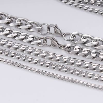 3/5/7mm Men Chain Silver Tone Stainless Steel Curb Cuban Link Necklace Bracelet