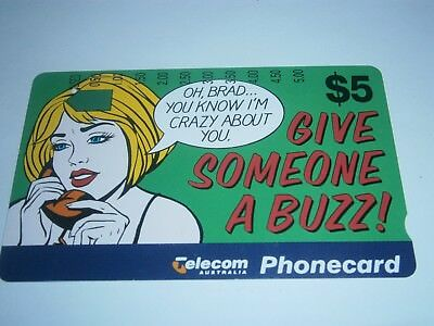 $5 Give Someone A Buzz - Brad I'm Crazy About You Telecom Phonecard - Free Post