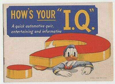 "1941 Disney Sunoco  Mickey Mouse Donald Duck Automotive Quiz ""How's Your I.Q."""