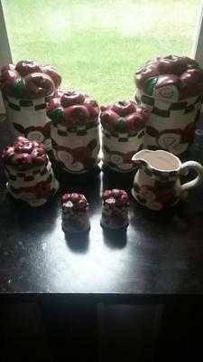 Ceramic Apple Canister Set, Cream and Sugar, Salt and Pepper