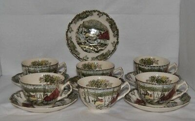"6 Johnson Bros. The Friendly Village ""The Log House"" Tea Cups, Saucers & Creamer"