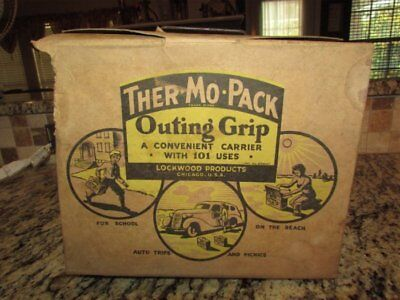 Vintage Very Rare Old Cardboard Ther-Mo-Pack Outing Grip Lunchbox & Thermo Can