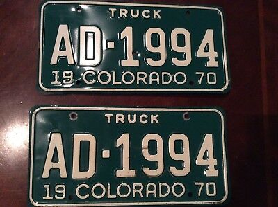 1970 Colorado License Plate Number Tag PAIR Plates for a truck AD-1994