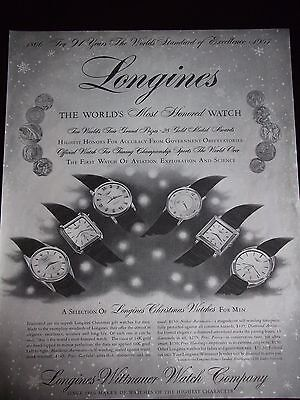 1957 Longines Men's Watches 6 Models Named and Priced Advertisement GREAT AD