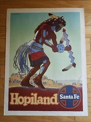 "Original c1949 Don Perceval ""Hopiland - Buffalo Dancer"" Santa Fe Railway Poster"