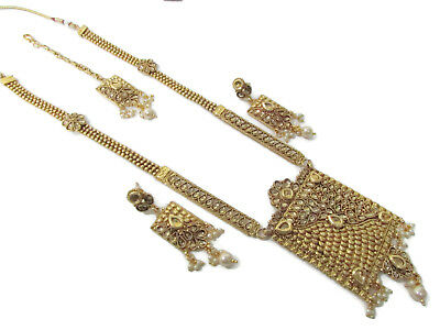 Indian Bollywood Ethnic Antique Gold South Indian Pendant Necklace Earring Set