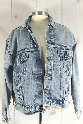 Vintage Levis Denim Jean Jacket Sz XL Acid Stone Wash 70507 0219 Trucker Red Tab