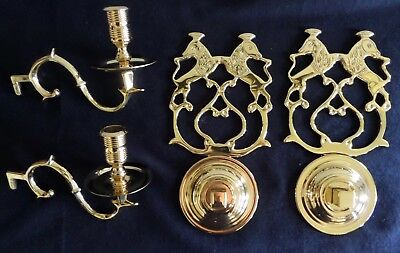 Pair of Williamsburg Style Chowning's Tavern Brass Candle Sconces by Baldwin