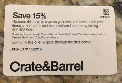 15 Off Total Purchase Crate Barrel 1coupon Code Exp 11 30 18