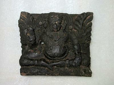 Antique Old Rare Hand Carved Wooden Small Hindu Lord Ganesha Figure Block Penal