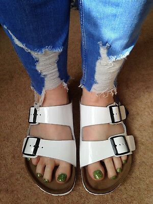 5 Patent Size Sandals Uk 38 Nwt White Leather Birkenstock Arizona xeWdBCor
