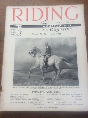 Riding & Driving The Horse Lovers Magazine May 1941 Horse Charmers Malta Adverts