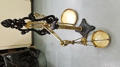 Vintage Brass Weighing Scales with Wrought Iron Stand