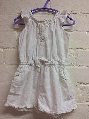 Girls White Cotton Playsuit Age 2-3 Years George