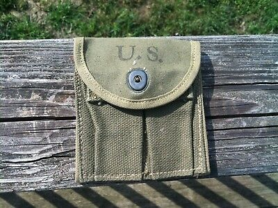 WW2 US USGI M-1 M1 Carbine Canvas Ammo Pouch Biscayne Tent & Awning Co 1943