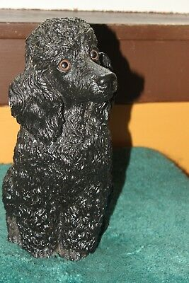 """Universal Statuary Corp 1984 Black Poodle 12"""" Tall Statue #323"""