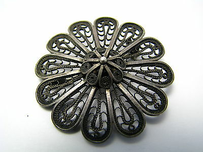 A HANDCRAFTED STERLING SILVER BROOCH PIN FILIGREE Israel ca1950s Judaica Excel