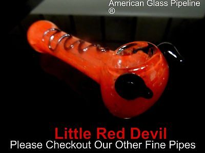 "Little Red Devil Hand Glass Smoking Tobacco Pipe. 5"" Hottie Free Shipping"