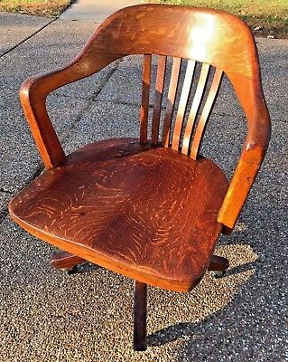 Vintage pre-1932 Crocker Chair Co Oak? Wood Banker Lawyer Rolling Swivel Office