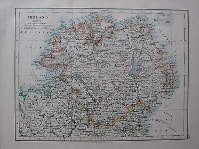 1904 Map ~ Ireland North Donegal Londonderry Tyrone Down Armagh