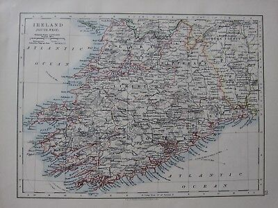 1904 Map ~ Ireland South West Kerry Cork Tipperary Clare Waterford