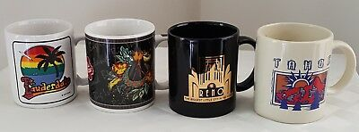 Lot of Four (4) Assorted Coffee Cups / Mugs - Souvenir Vacation Travel - Vintage