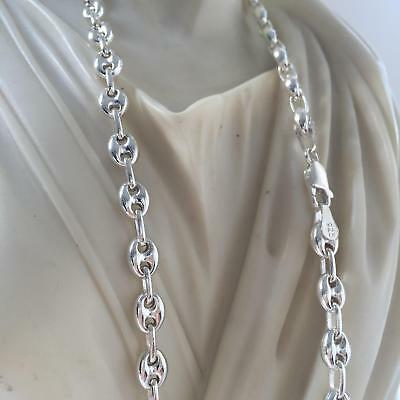 Mens Puff Mariner Bullet Link Chain Hollow 925 Sterling Silver 6mm 23GR 24Inch