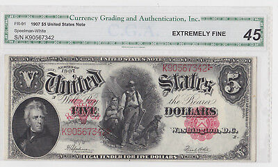 """Large 1907 $5 United States Currency Note Cga Graded Extremely Fine """"45"""" No Res."""