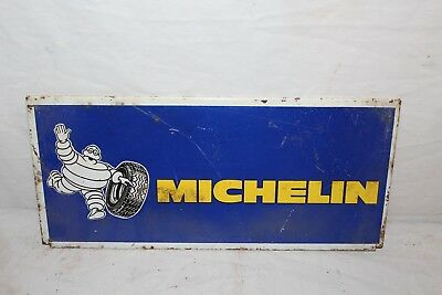 "Vintage c.1970 Michelin Man Tires Gas Station Oil 15"" Metal Sign"