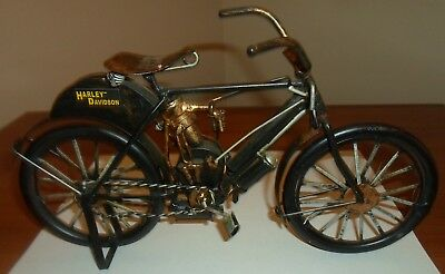 Handmade Metal Motorcycle Art Sculpture, 1900's Harley Davidson