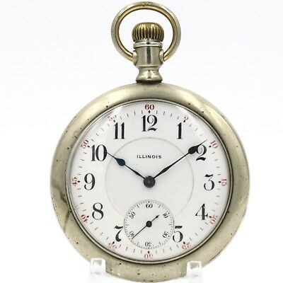 b15cb5a4513b 1912 ILLINOIS 15 Jewel Mechanical Pocket Watch RR Style Antique USA Large  16s