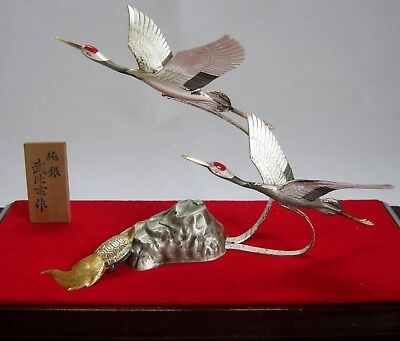 Vintage Pure Silver beautiful 2Cranes and tortoise Takehiko's work
