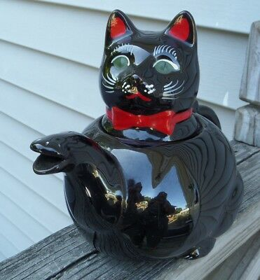 Vintage SHAFFORD Japan Redware Pottery Black CAT with Red Bowtie Teapot