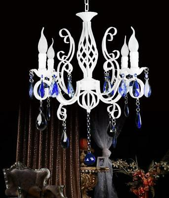 Candle Wrought Iron ceiling light Blue Crystal Chandelier White Pendant Lamps