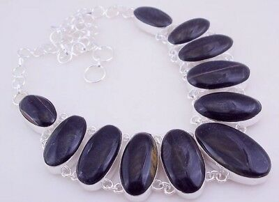 Midnight  Black Tiger's Eye Silver  Handmade Jewelry Necklace