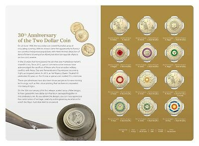 2018 $2 Twelve 12 Coin Coloured Set -30th Anniversary of the $2 Coin