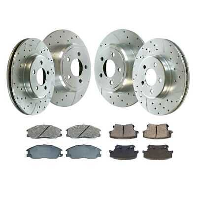 Front Rear (4) Drill Slotted Brake Rotors (8) Ceramic Pad For 05-13 Chrysler 300