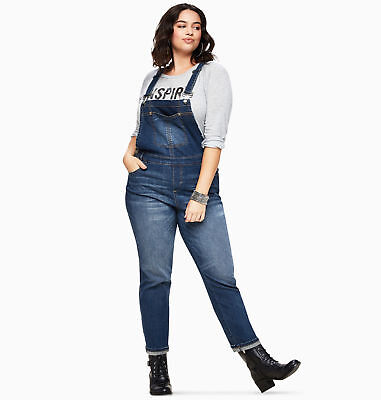 LORALETTE Denim Ankle Overalls Womens Plus Size