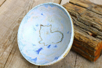 Vintage Hand Crafted Pottery Art Ceramic HEAVY BOWL Ghost Cat Kitty Rustic Style