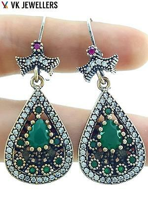 925 Sterling Silver Jewelry Turkish Handmade Antique Emerald Earrings Gift E2651