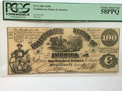 1861 Confederate States of America T-13 $100 note PCGS 58!
