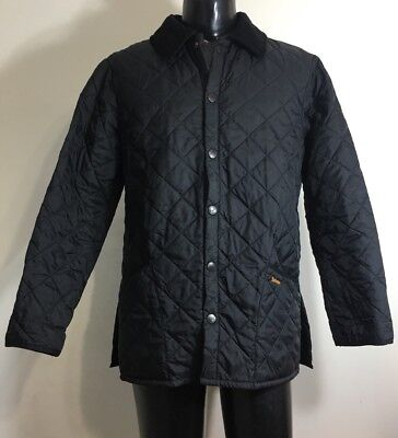 Barbour Liddesdale Quilted Black Barn Coat Jacket Mens Size Small