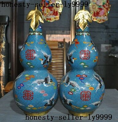 Marked old Chinese bronze Cloisonne Enamel Gilt carving Leaves Cranes gourd Pair