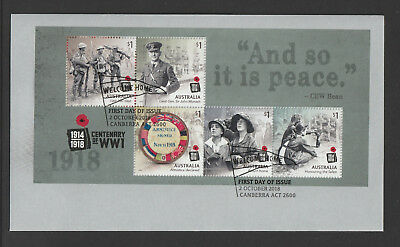 Australia 2018 : Centenary of WW1 1918 - First Day Cover with Minisheet.
